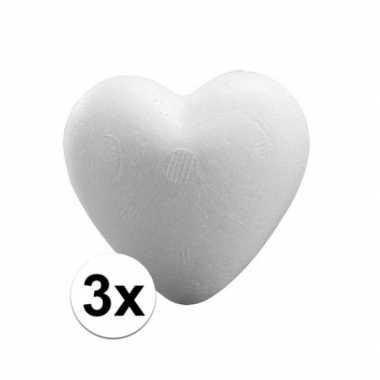 3x knutsel hartjes piepschuim 9 cm