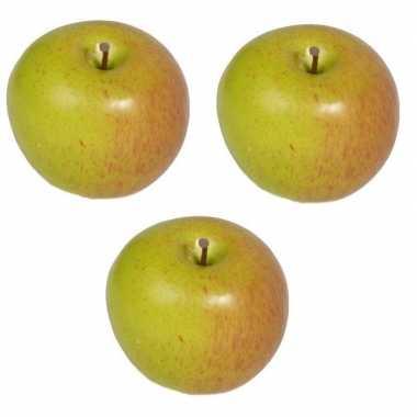 3x kunst fruit appels 8 cm