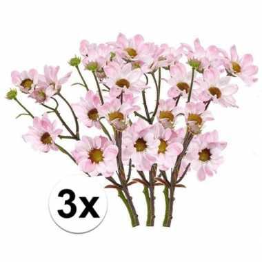 3x kunstbloemen tak licht roze margriet 44 cm