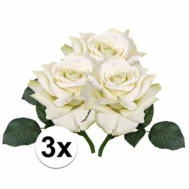 3x kunstbloemen witte roos 31 cm