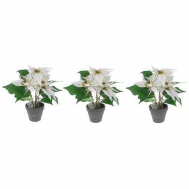 3x kunstplanten witte poinsettia bloem met pot 30 cm