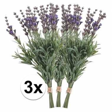 3x lavendel kunst takjes 33 cm
