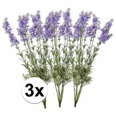 3x licht paarse lavendel kunstplant 40 cm