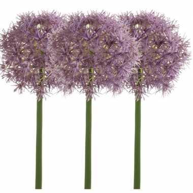 3x lila paarse kunst allium/sierui kunstbloemen 65 cm decoratie