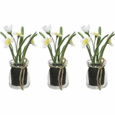 3x narcissus narcis kunstplanten wit/geel 15 cm met glazen pot