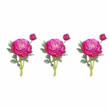 3x nep bloemen fuchsia roze ranonkel binnenbloem, kunstbloemen 35 cm