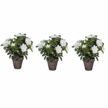 3x nep planten groene azalea kunstplanten met witte bloemen 27 cm met