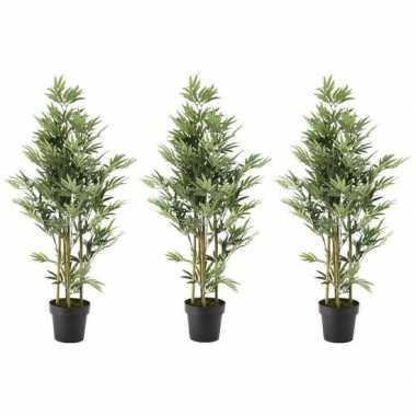 3x nep planten groene bamboe kunstplanten 125 cm met zwarte pot