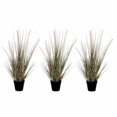 3x nep planten groene dogtail siergras kunstplanten 53 cm met zwarte