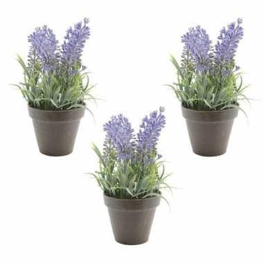 3x nep planten groene lavandula lavendel kunstplanten 17 cm met zwart