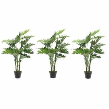 3x nep planten groene philodendron monstera gatenplant kunstplanten 1