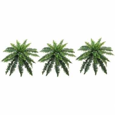 3x nep planten groene varen binnenplant, kunstplanten 70 cm