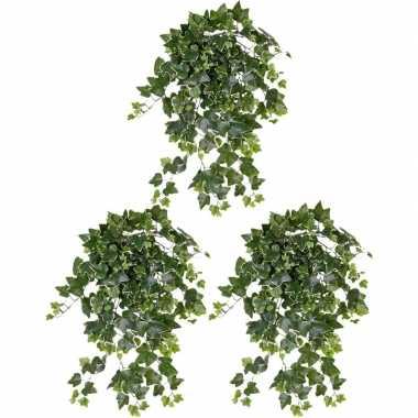 3x nep planten groene/witte hedera helix klimop weerbestendige kunstp