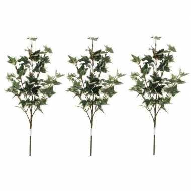 3x nep planten hedera klimop kunstbloemen takken 50 cm decoratie