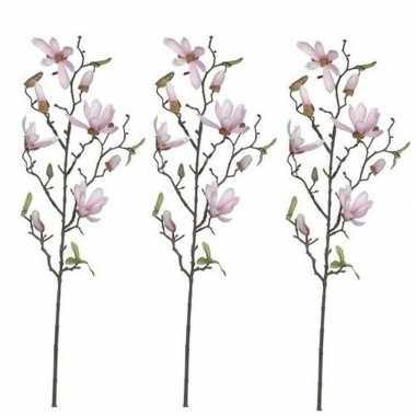 3x nep planten magnolia beverboom kunstbloemen takken 80 cm decoratie