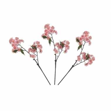 3x nep planten prunus serrulata kersenbloesem kunstbloemen takken 166