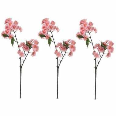3x nep planten prunus serrulata kersenbloesem kunstbloemen takken 60