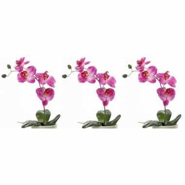 3x nep planten roze orchidee/phalaenopsis binnenplant, kunstplanten 4