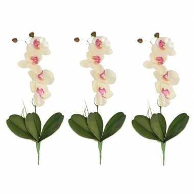 3x nep planten roze/wit orchidee/phalaenopsis binnenplant, kunstplant