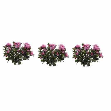 3x nepplanten roze azalea binnenplant kunstplanten 20 cm