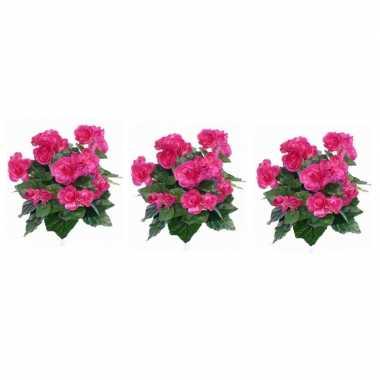 3x nepplanten roze begonia binnenplant kunstplanten 30 cm