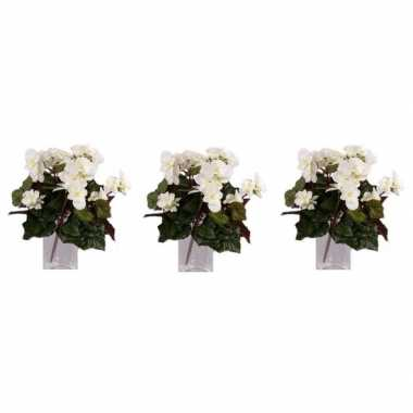 3x nepplanten witte begonia binnenplant, kunstplanten 30 cm