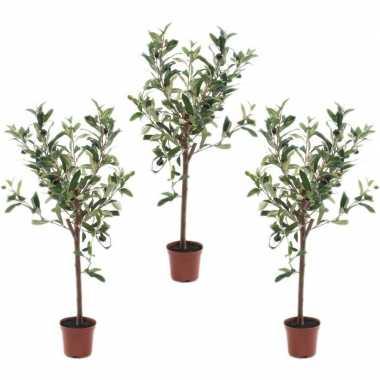 3x olijfbomen kunstplanten/kunstbomen 65 cm in kunststof plantenpot