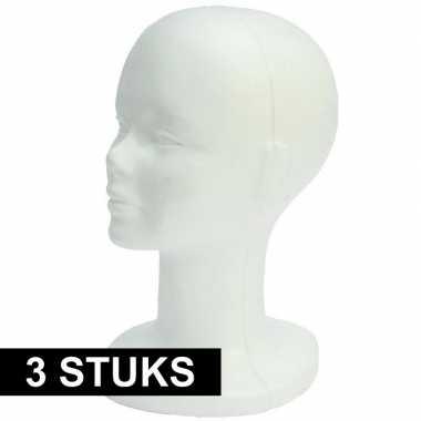 3x paspop hoofd van piepschuim 30 cm