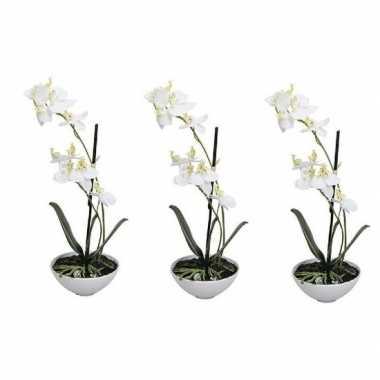 3x phalaenopsis kunst plant in pot 25 cm wit