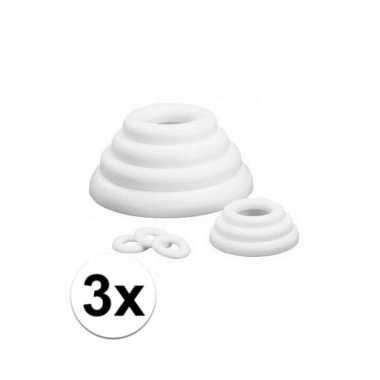 3x platte ringen van piepschuim 30 cm