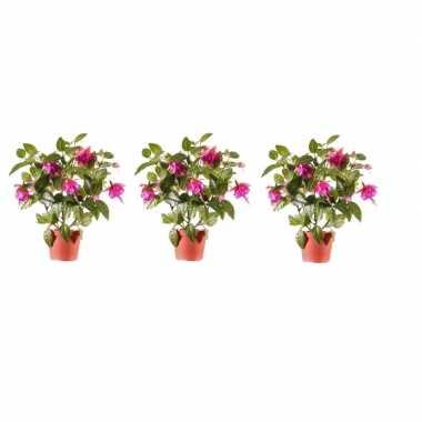 3x roze fuchsia kunstplant in pot 30 cm voor binnen
