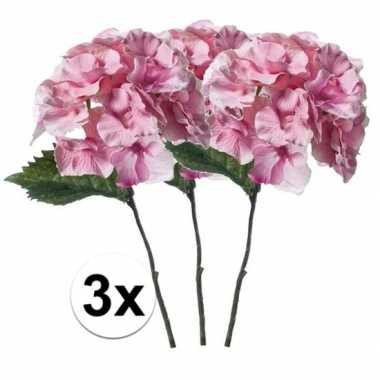 3x roze hortensia kunstbloem 28 cm