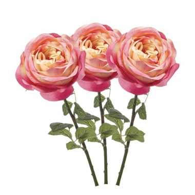 3x roze kunstroos kunstbloemen 66 cm decoratie