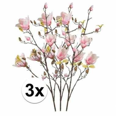 3x roze magnolia kunstbloem 105 cm