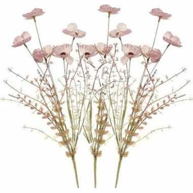 3x roze papaver/klaproosjes kunstbloemen takken 53 cm decoratie