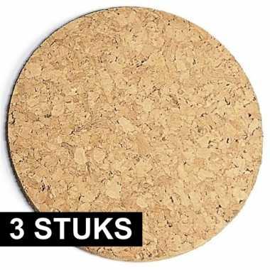 3x stuks kurk pannen onderzetters 20 cm