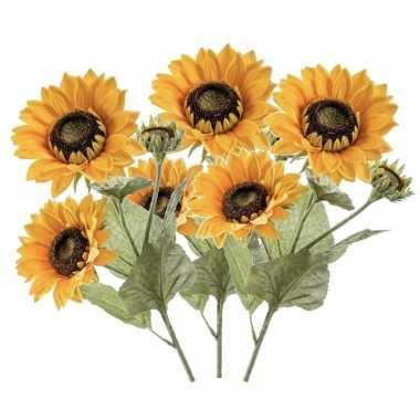 3x stuks nep namaak zonnebloemen kunstbloemen 62 cm 3 knoppen