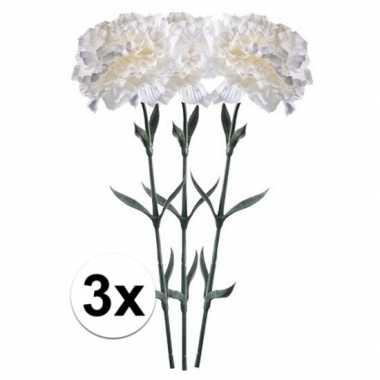 3x witte dianthus kunstbloem 65 cm