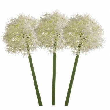 3x witte kunst allium/sierui kunstbloemen 65 cm decoratie