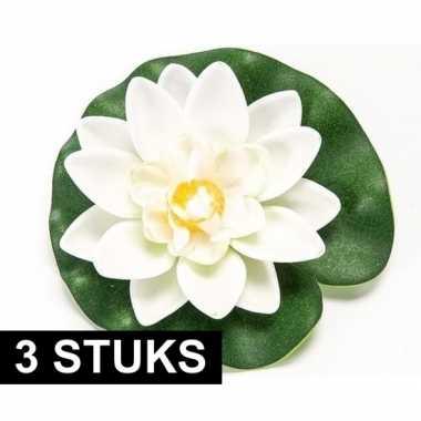 3x witte kunst waterlelie kunstbloemen 10 cm decoratie