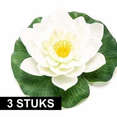 3x witte kunst waterlelie kunstbloemen 16 cm decoratie