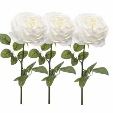 3x witte kunstroos kunstbloemen 66 cm decoratie