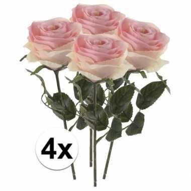 4 x kunstbloemen steelbloem licht roze roos simone 45 cm