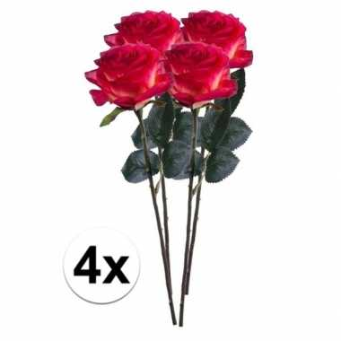 4 x kunstbloemen steelbloem rood gele roos simone 45 cm