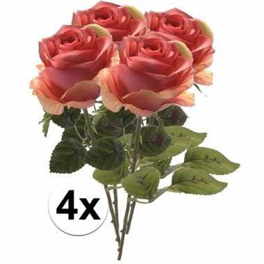 4 x kunstbloemen steelbloem roze roos simone 45 cm