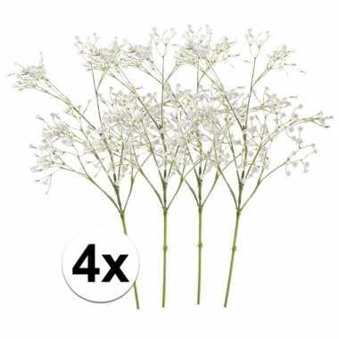 4 x kunstbloemen steelbloem wit gipskruid 65 cm