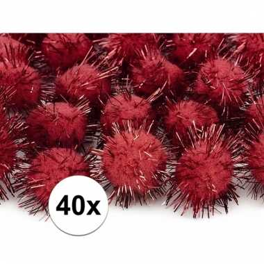 40x hobby pompons 20 mm rood