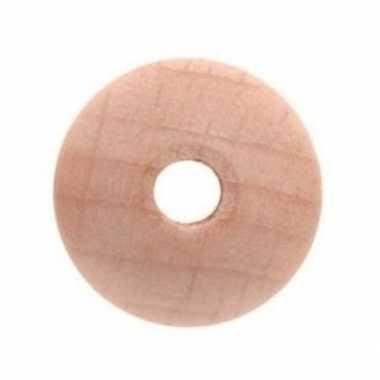 42x houten kralen naturel 1 cm