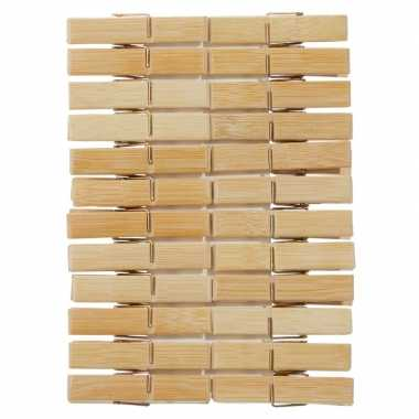 48x houten wasgoedknijpers 6 cm
