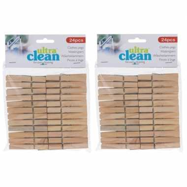 48x houten wasgoedknijpers 7 cm